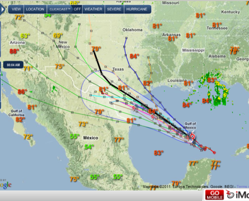 (Pic 2) Tropical Storm Don in iMap on iMapWeather.com