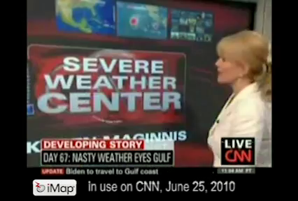 CNN uses iMapLive! to air segments on tropical disturbance approaching Gulf oil-spill region, and Canada Earthquake