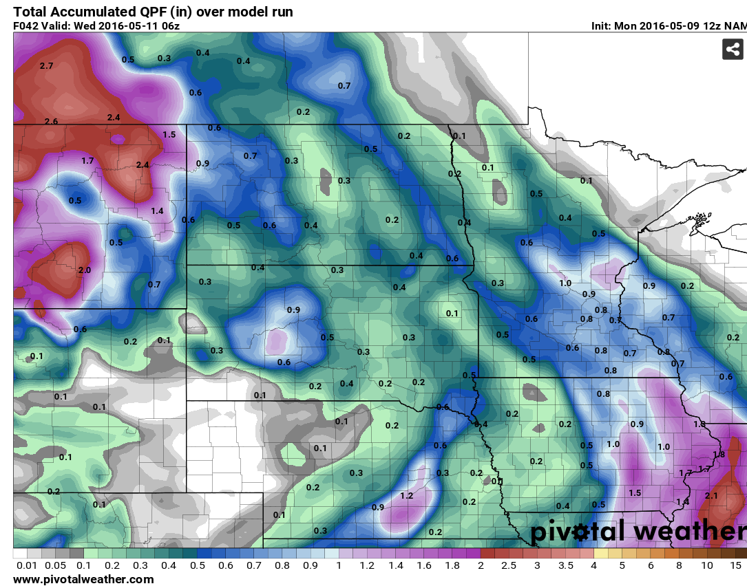 Accumulated Precipitation through 12am MDT Wednesday