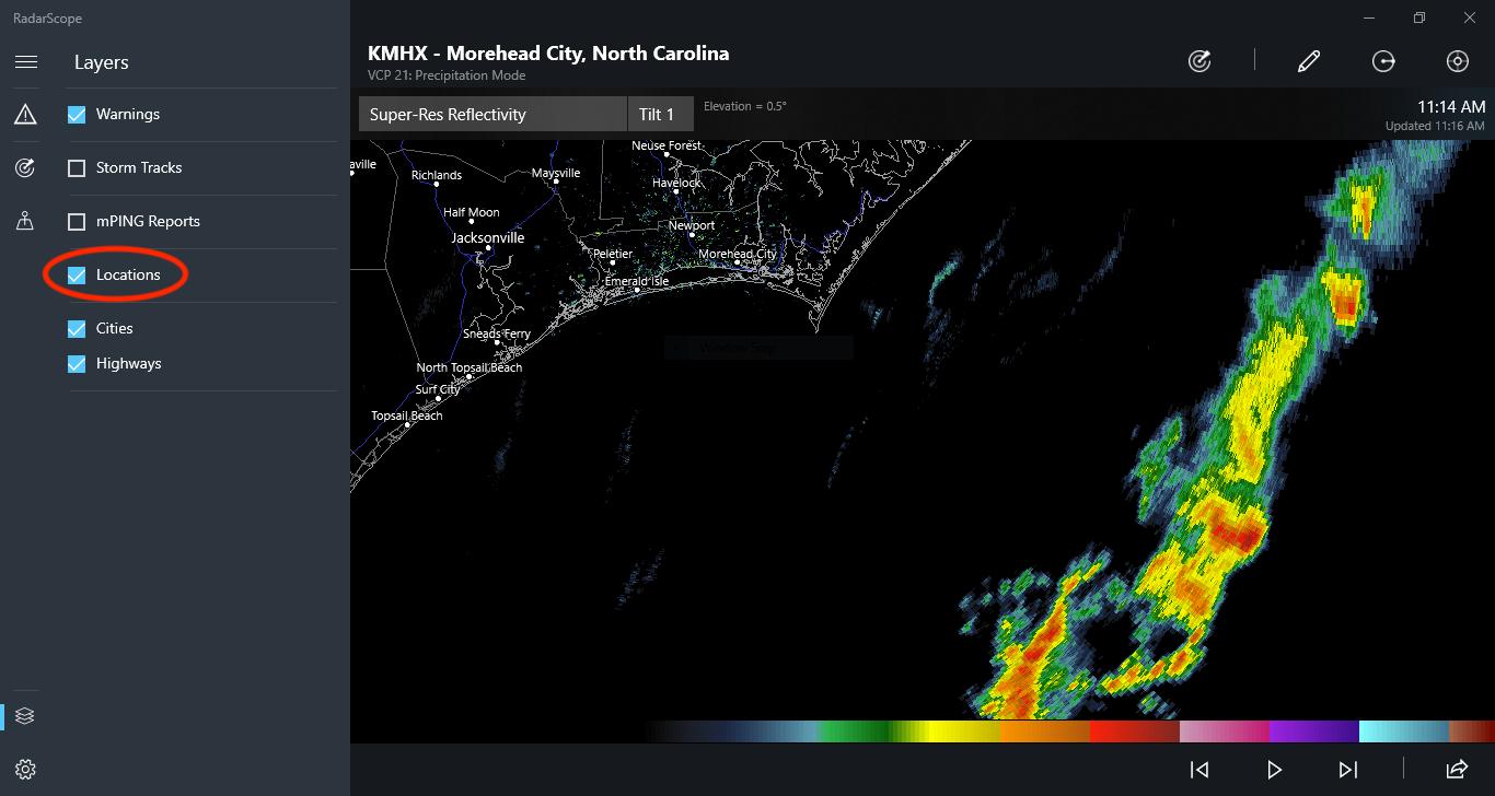Locations Box on RadarScope for Windows