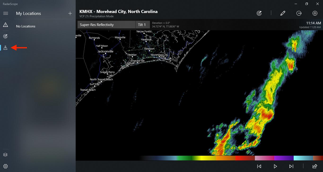Locations Icon on RadarScope for Windows