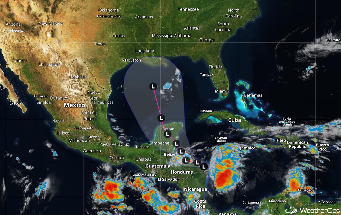 Forecast Track of Disturbance Near the Gulf