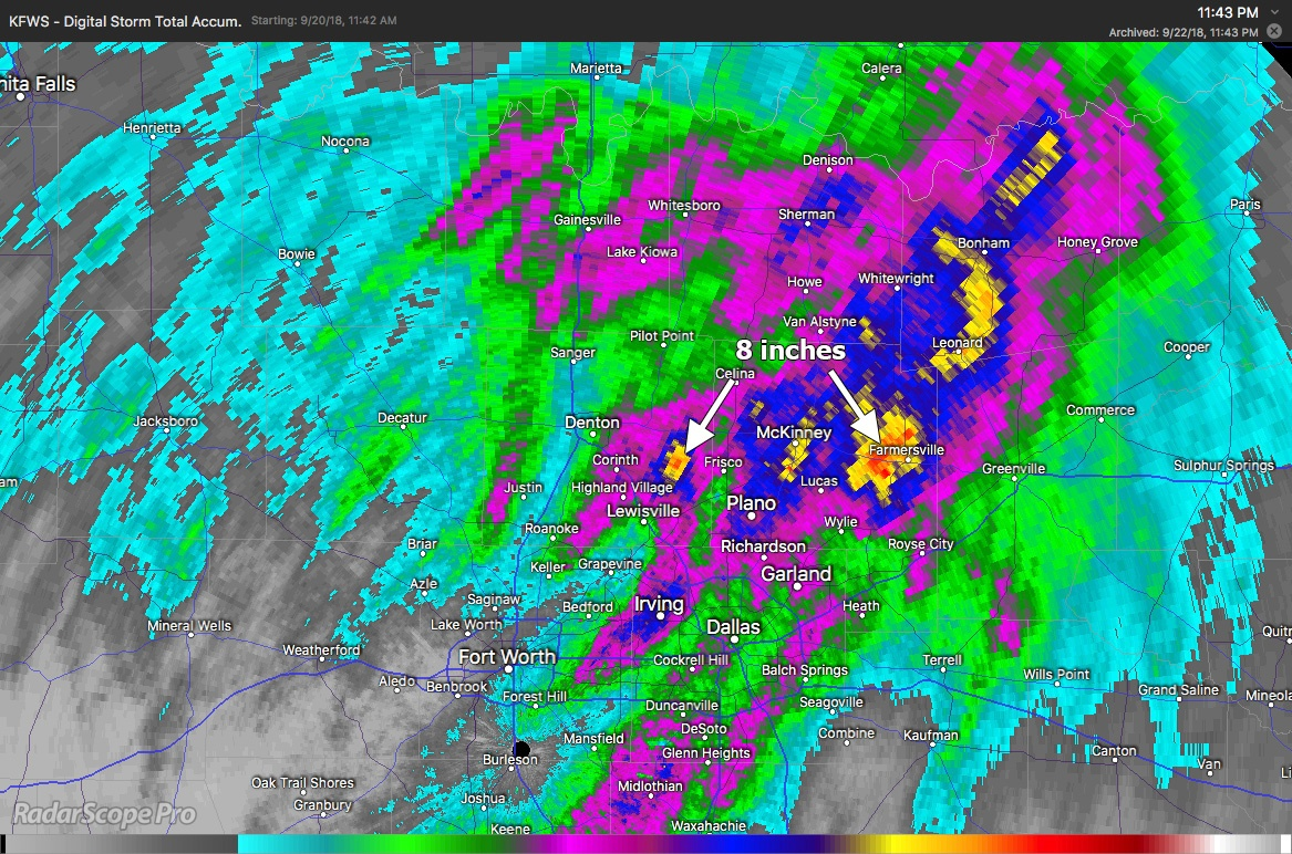 Digital Storm Total Accumulation for the DFW Area