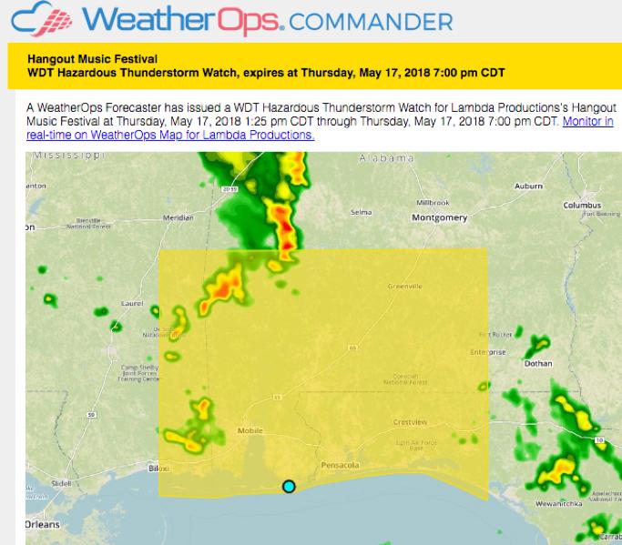 WeatherOps Hazardous Thunderstorm Watch