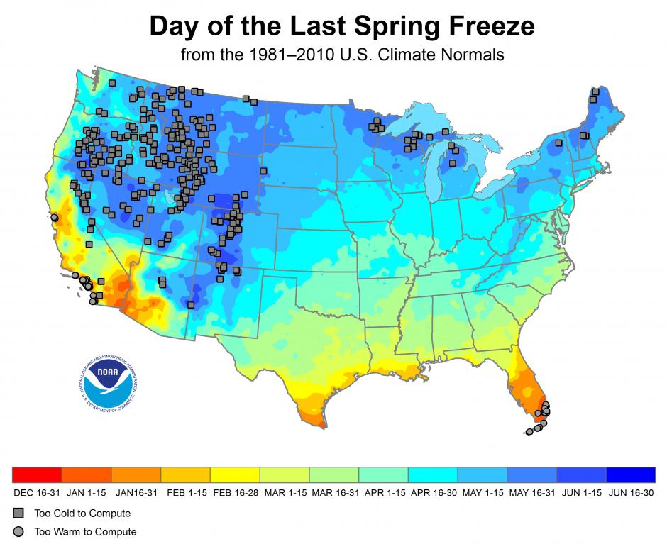 Dates of Last Freezes
