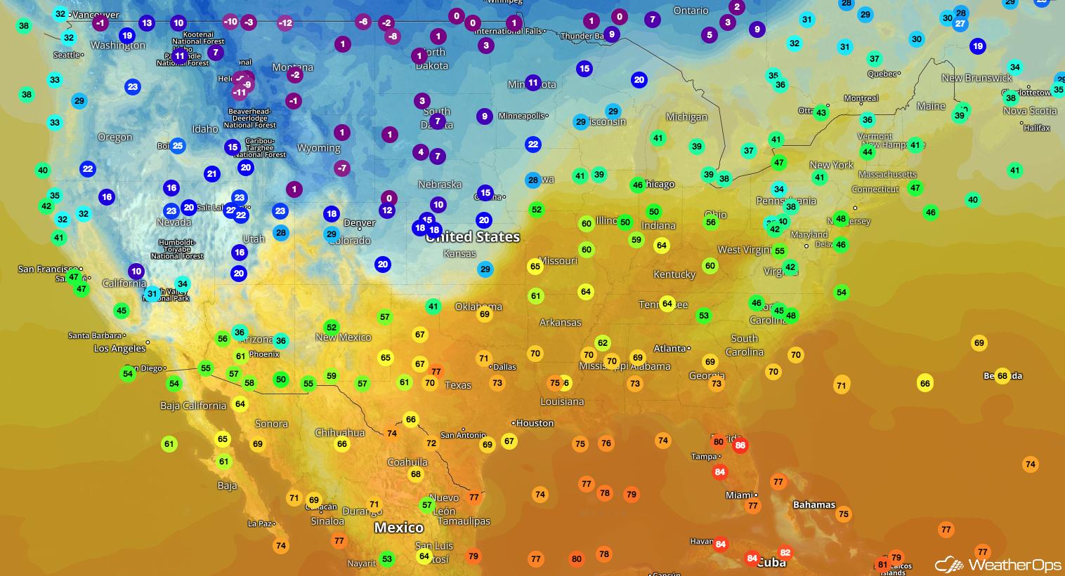 WeatherOps Temperature Map- February 19, 2018