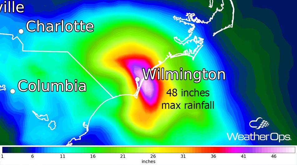 Hurricane Florence Rainfall Totals