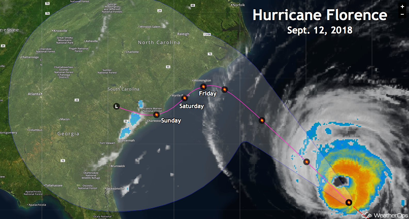WeatherOps Path of Hurricane Florence
