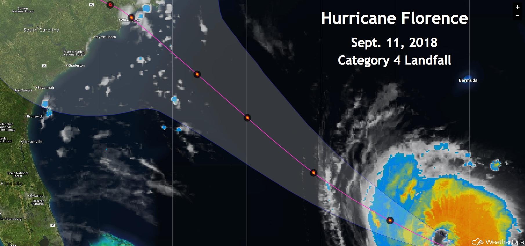 Path of Hurricane Florence