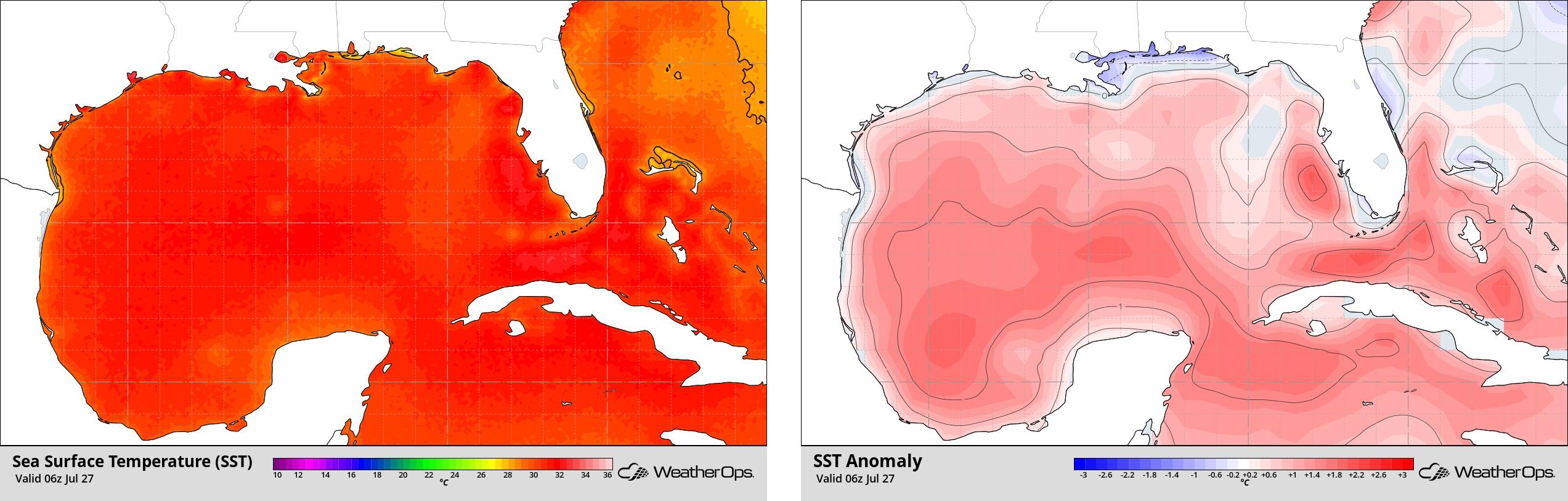 Gulf Sea Surface Temp and Anomalies