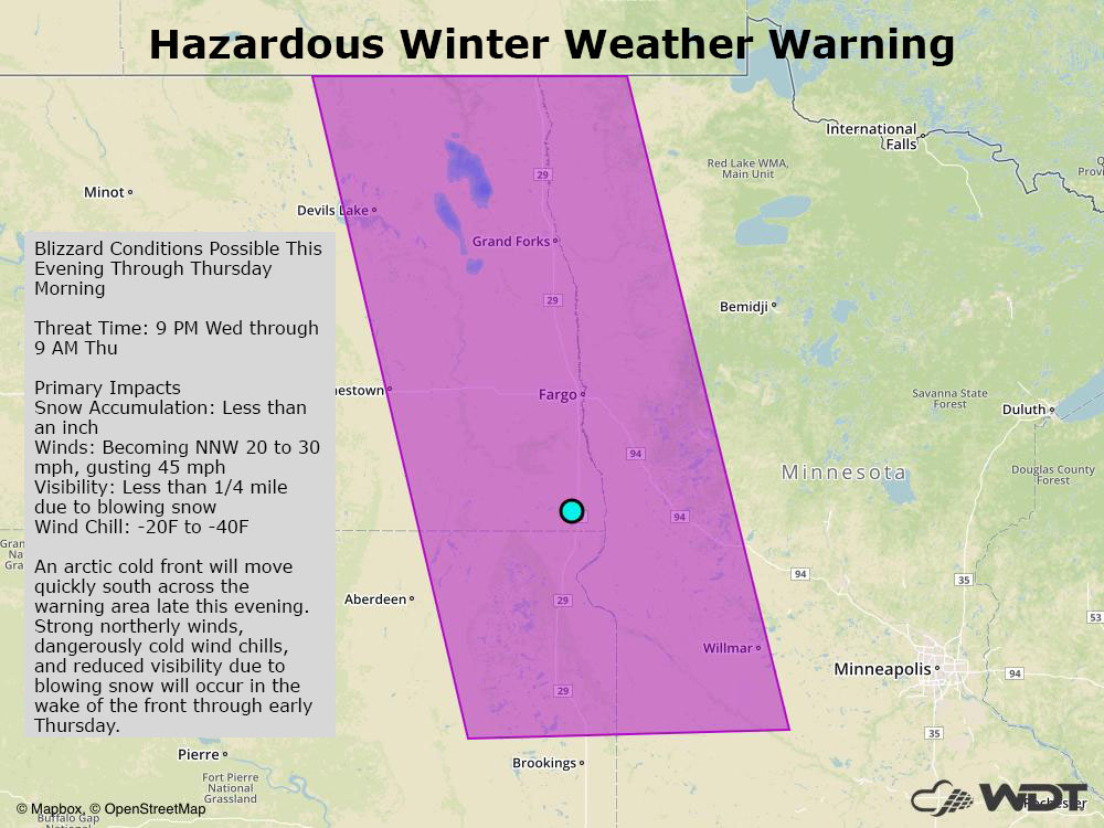 WeatherOps Hazardous Winter Weather Warning
