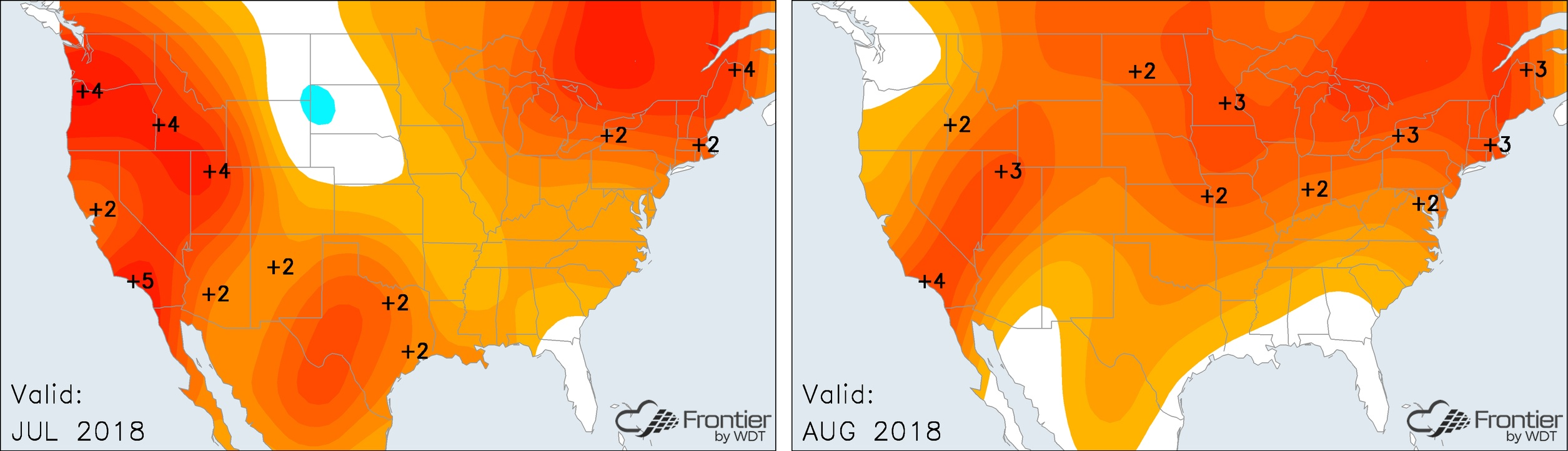 July and August Temperature Anomalies- Frontier