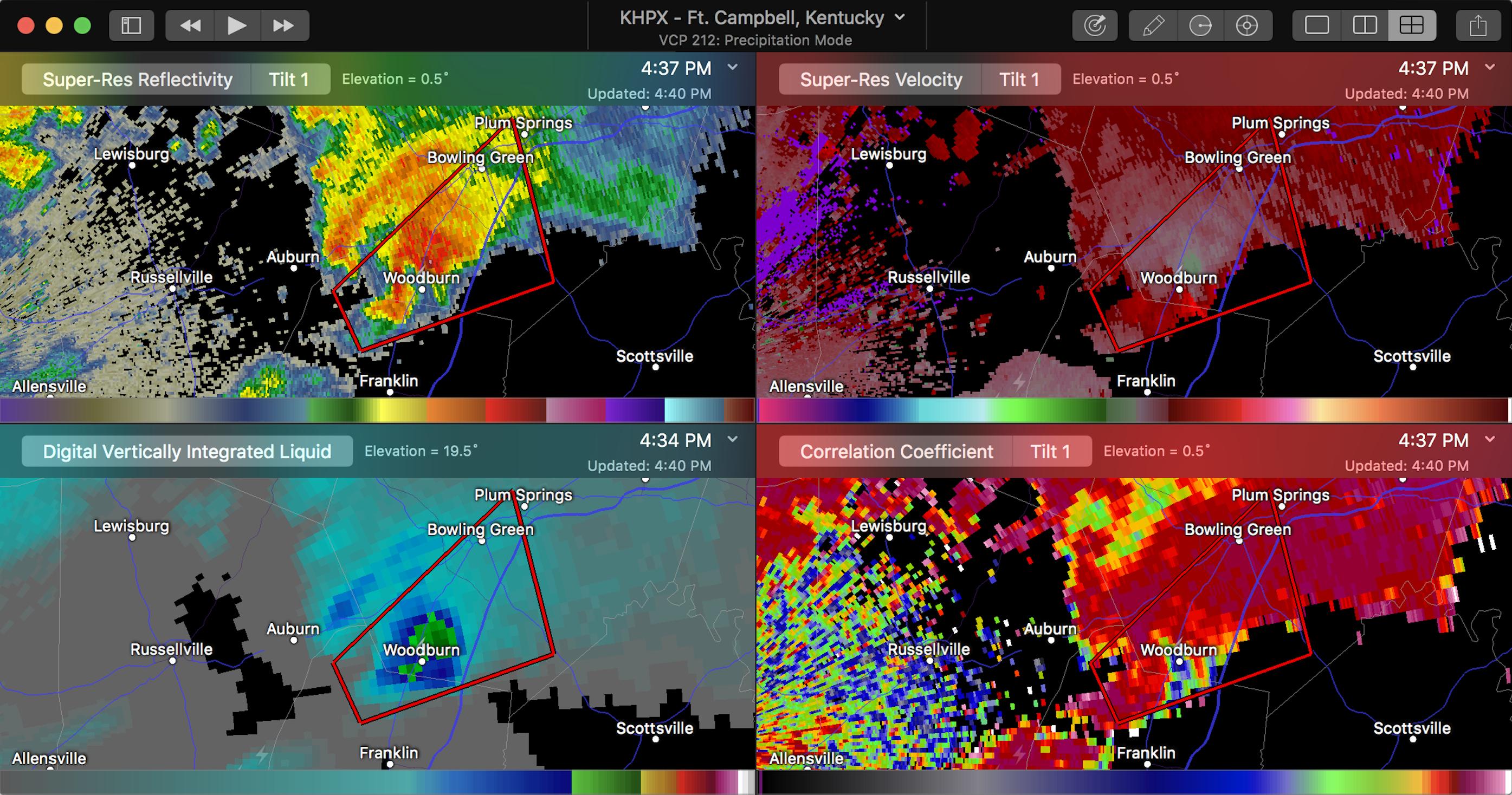 Kentucky EF2 Tornado on RadarScope