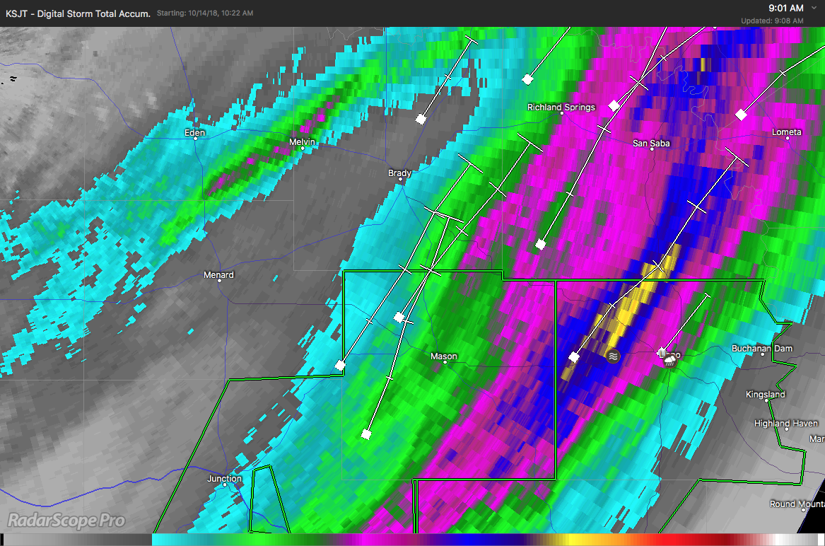 RadarScope Digital Storm Total Accumulation