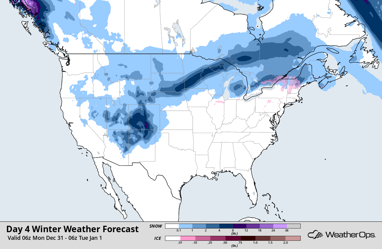 WeatherOps Snow and Ice Accumulation for 12/31/18
