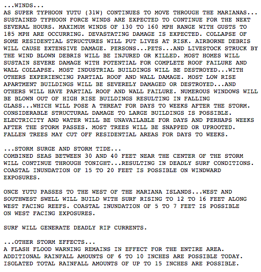 Forecast from NWS Guam