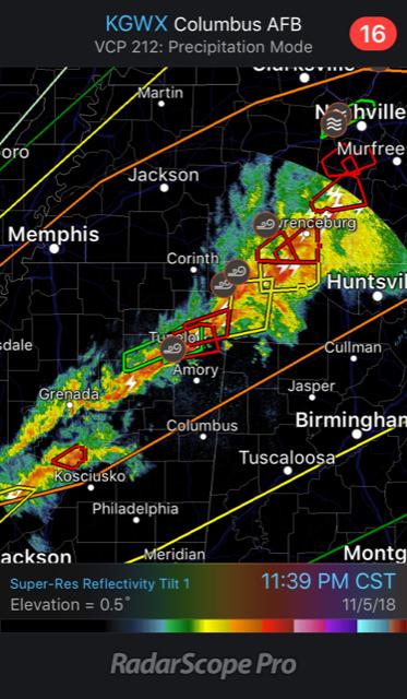 Tornado Warnings on RadarScope - Nov 5, 2018