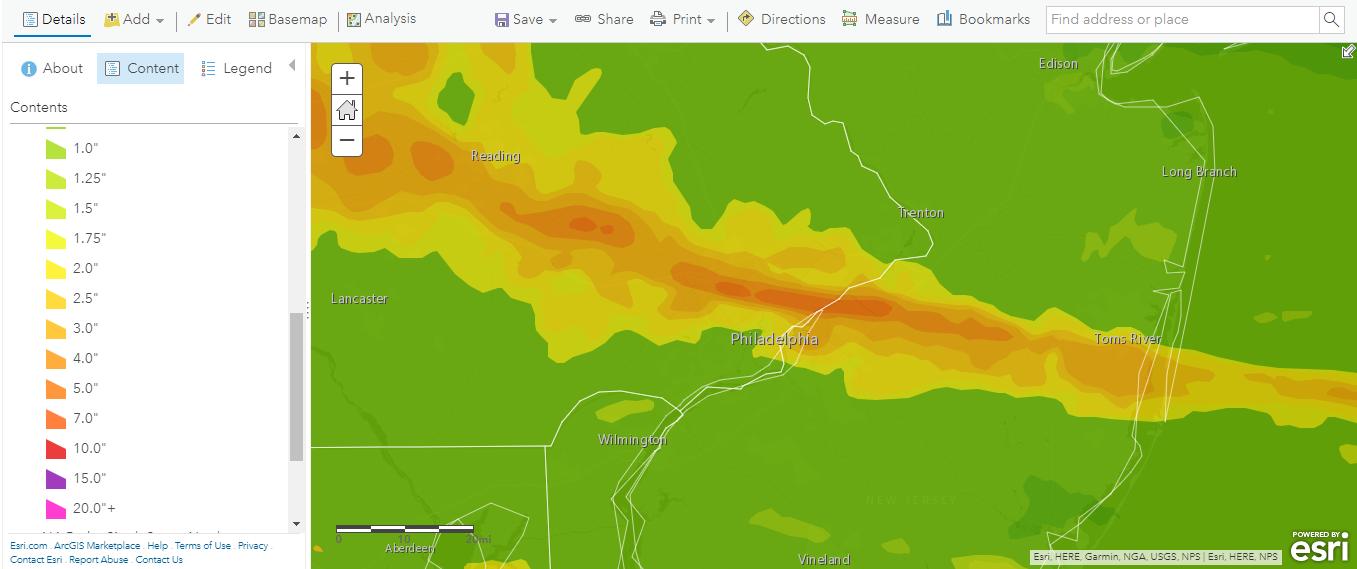 Esri 24-hr Rain Totals