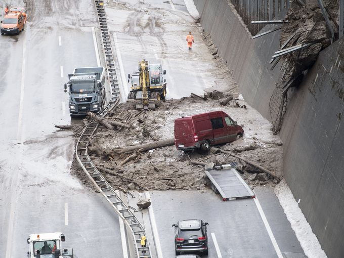 A Mudslide Caused the Closure of this Road in Switzerland