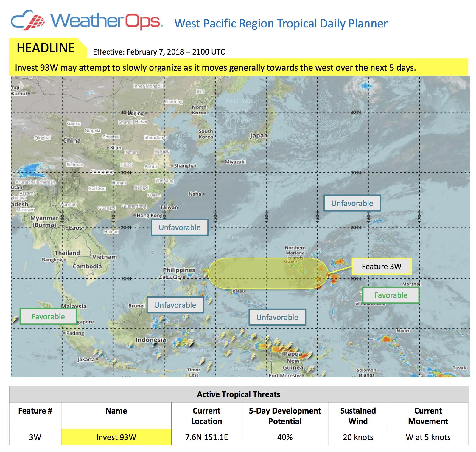 WeatherOps Tropical Planner Feb. 7, 2018