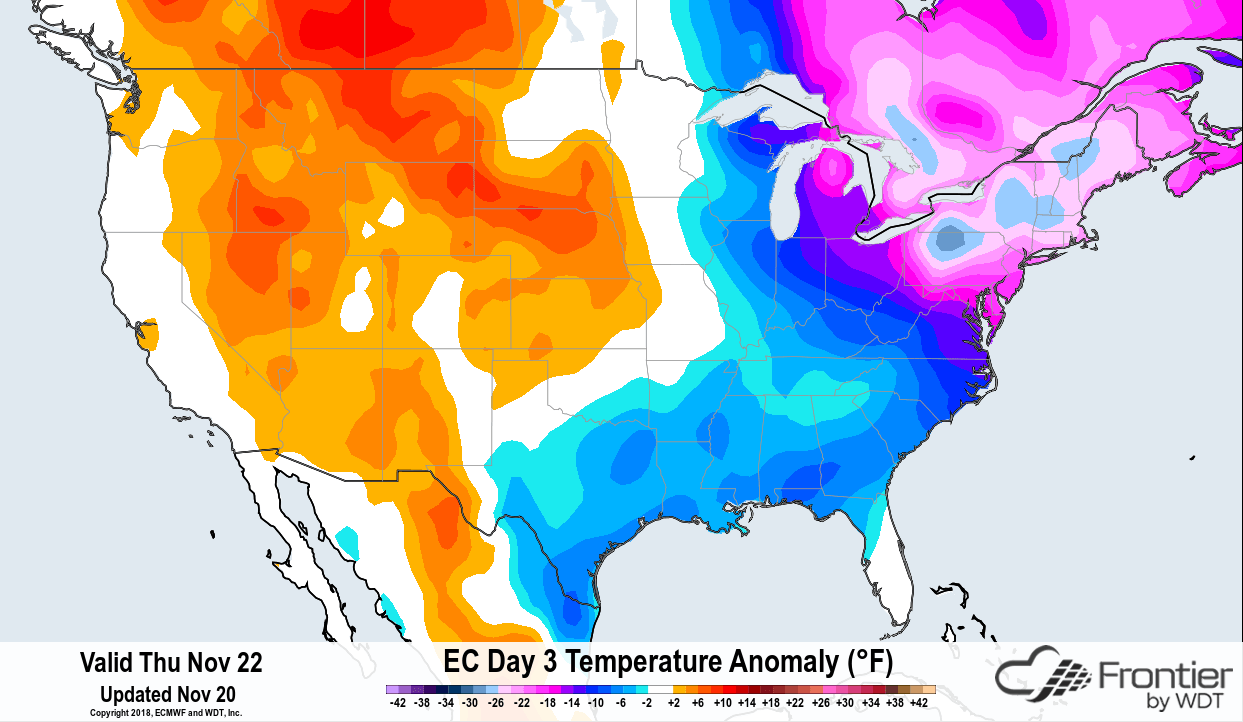 ECMWF Thanksgiving Day Temperature Anomaly