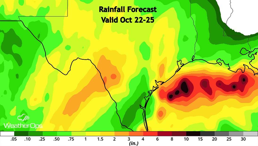 Rainfall Forecast From Willa Remnants