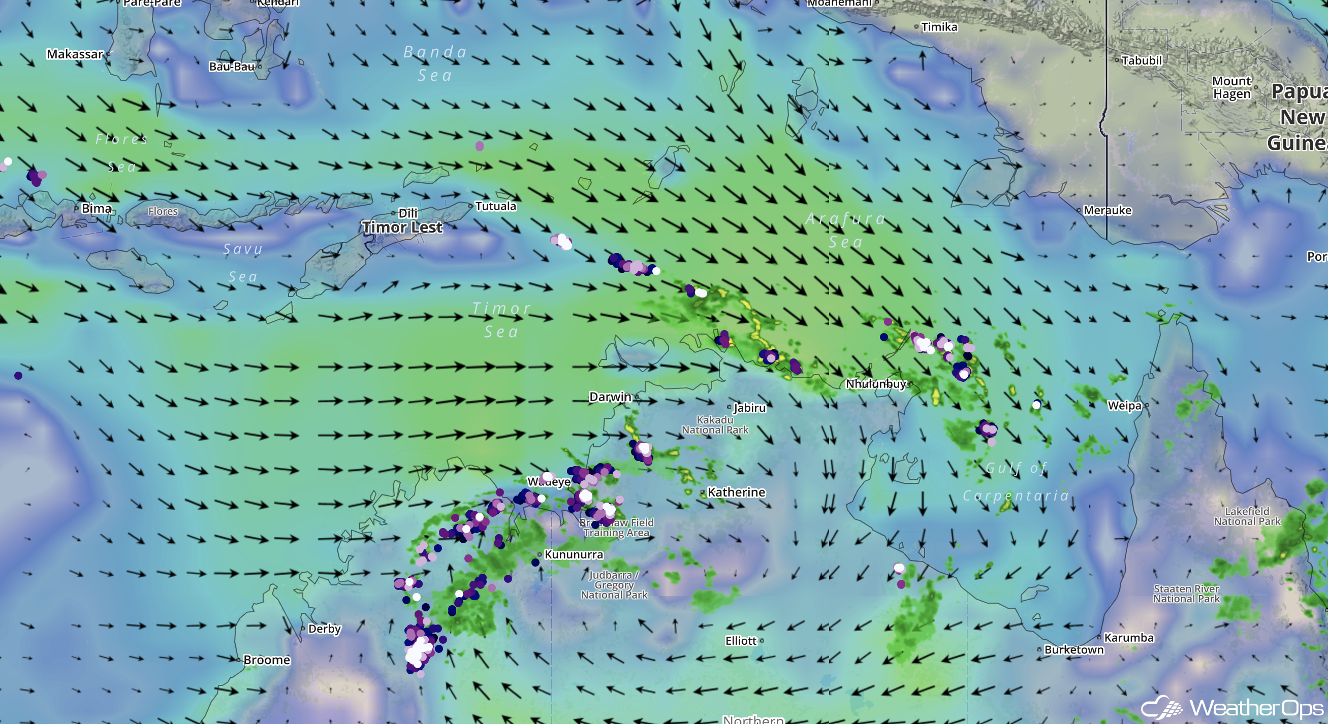 WeatherOps Surface Winds & Convective Activity over northern Australia