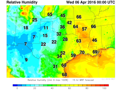 WDT WRF Relative Humidity 7pm CDT Tuesday, April 5, 2016