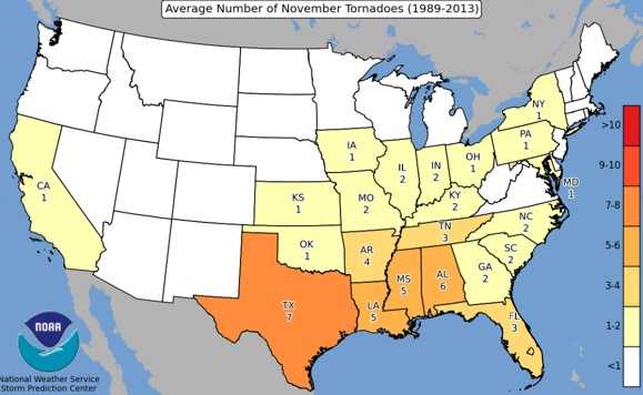 Average Number of November Tornadoes (1989-2013)
