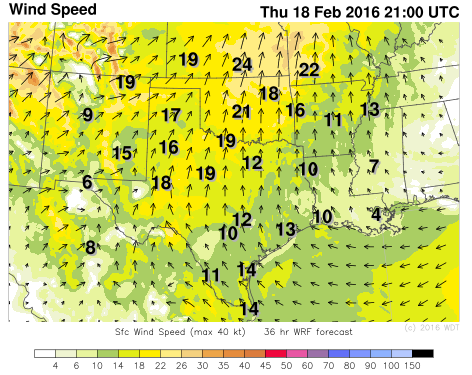 Winds Thursday, February 18, 2016 3pm CST