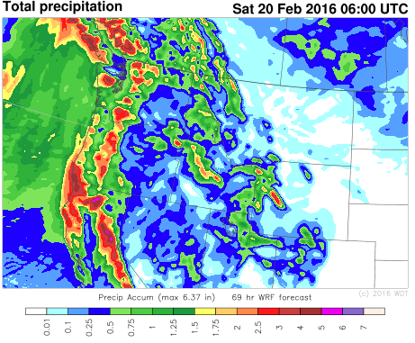 WDT WRF Total Precipitation through 11pm PST Friday