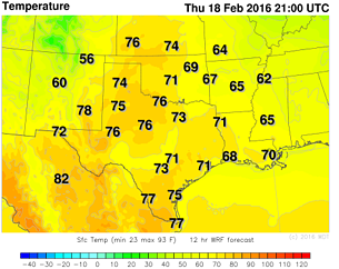 WDT WRF Temperatures Thursday, February 18, 2016 3pm CST