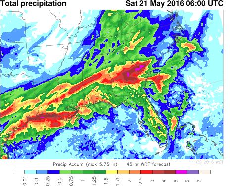 Total Precipitation through 2am EDT Saturday, May 21, 2016