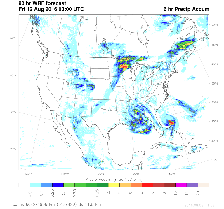 Precipitation Forecast- 10pm CT on Aug 11