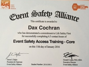 Event Safety Alliance Certificate