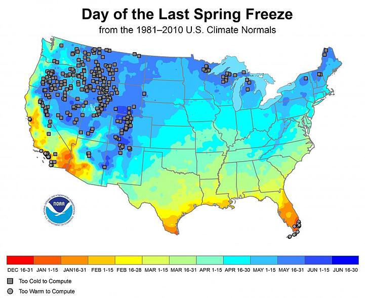 NOAA Last Spring Freeze Map