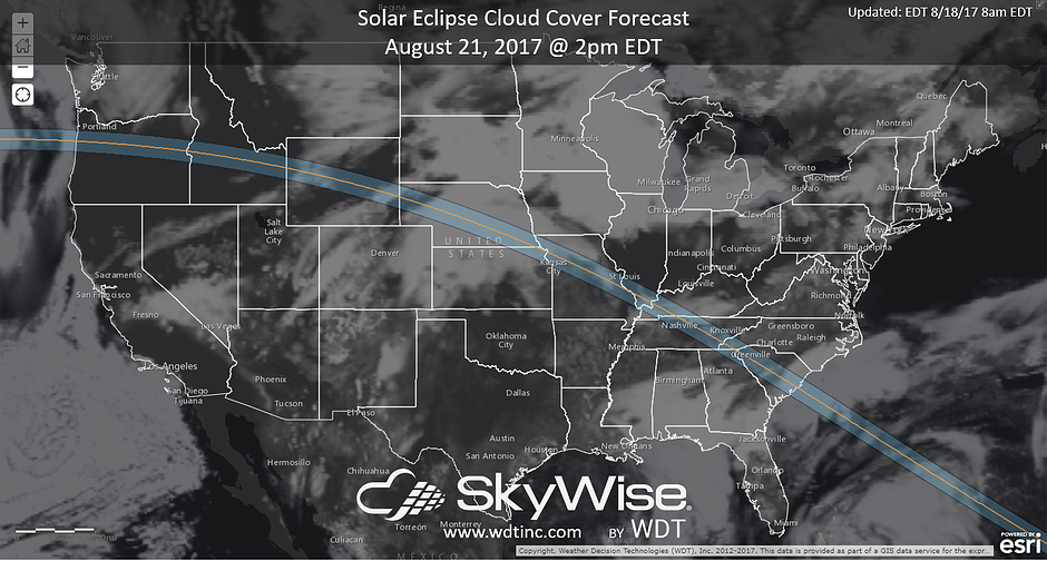 Eclipse Cloud Cover for August 21, 2017