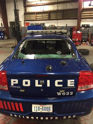 Arlington Police Car Damage