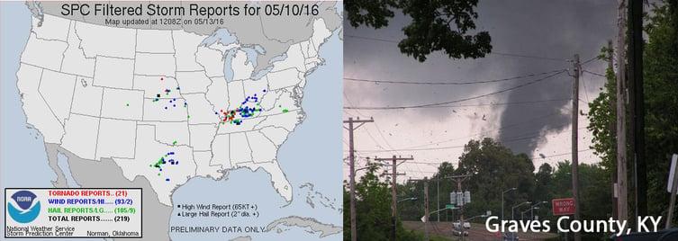 SPC Storm Reports and KY Tornado (Photo Credit: Tom Berry/The Messenger via AP)