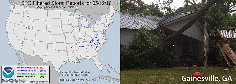 SPC Storm Reports and GA Wind Damage (Photo Credit: Gainesville FD)