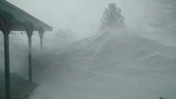 Snow drifts in Friona, TX.