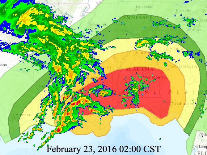 Future Radar Forecast for 2pm