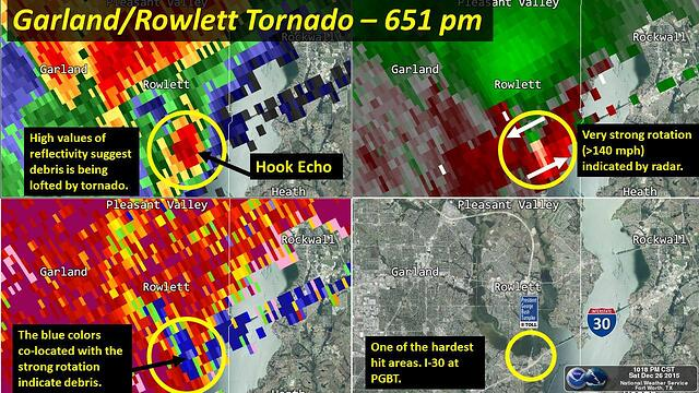 Radar Imagery of Garland-Rowlett Tornado from the NOAA NWS Dallas/Forth Worth Office