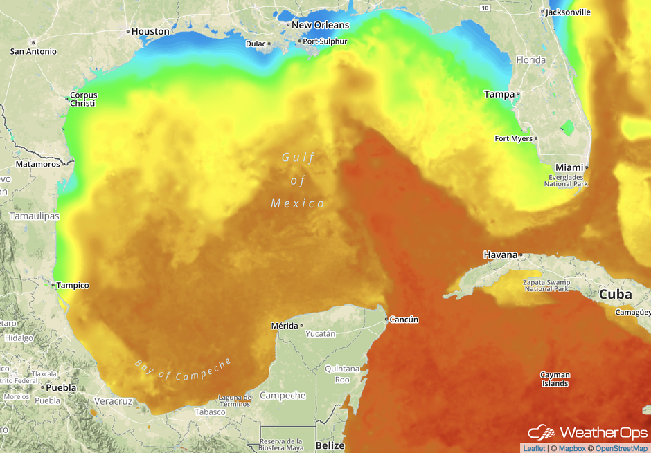 Sea Surface Temps in the Gulf of Mexico