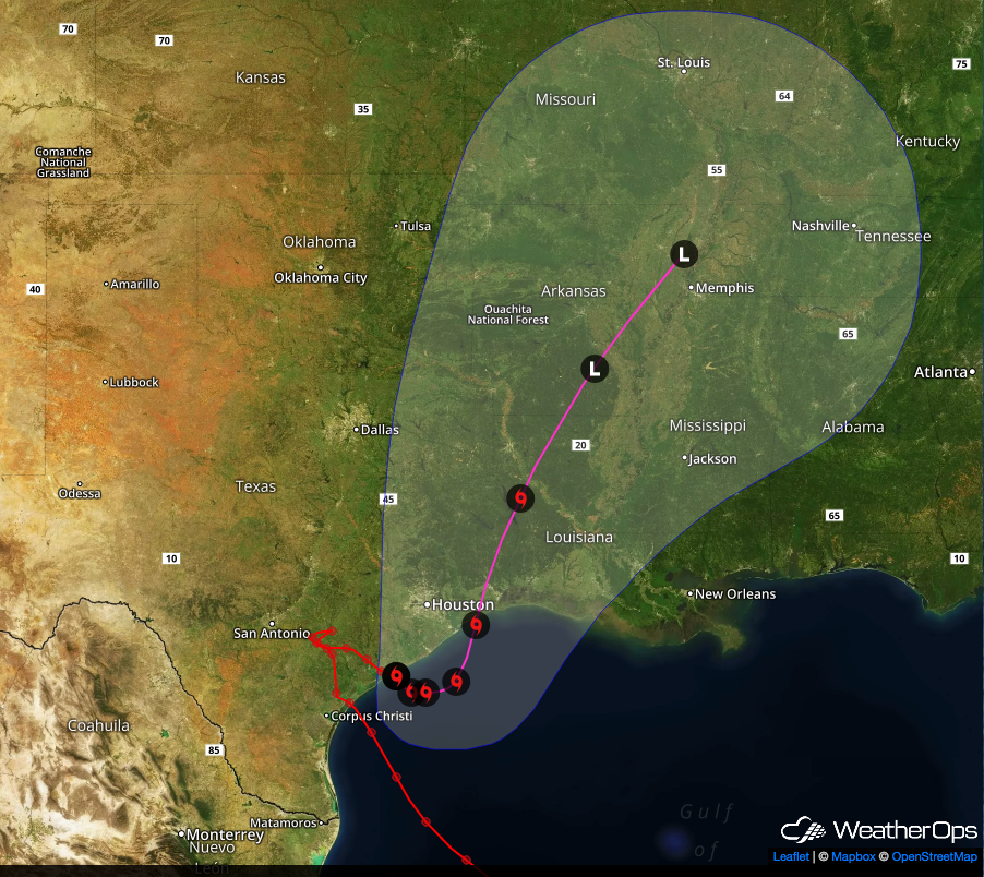 Forecast Path for Harvey -August 28, 2017