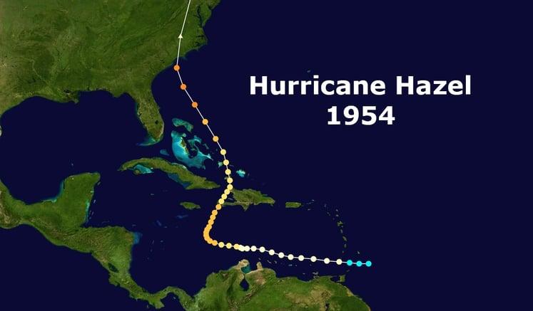 Track of Hurricane Hazel -1954