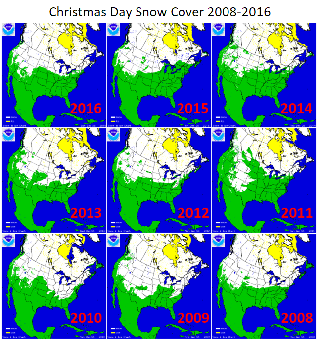 IChristmas Day Snow Cover 2008-2016