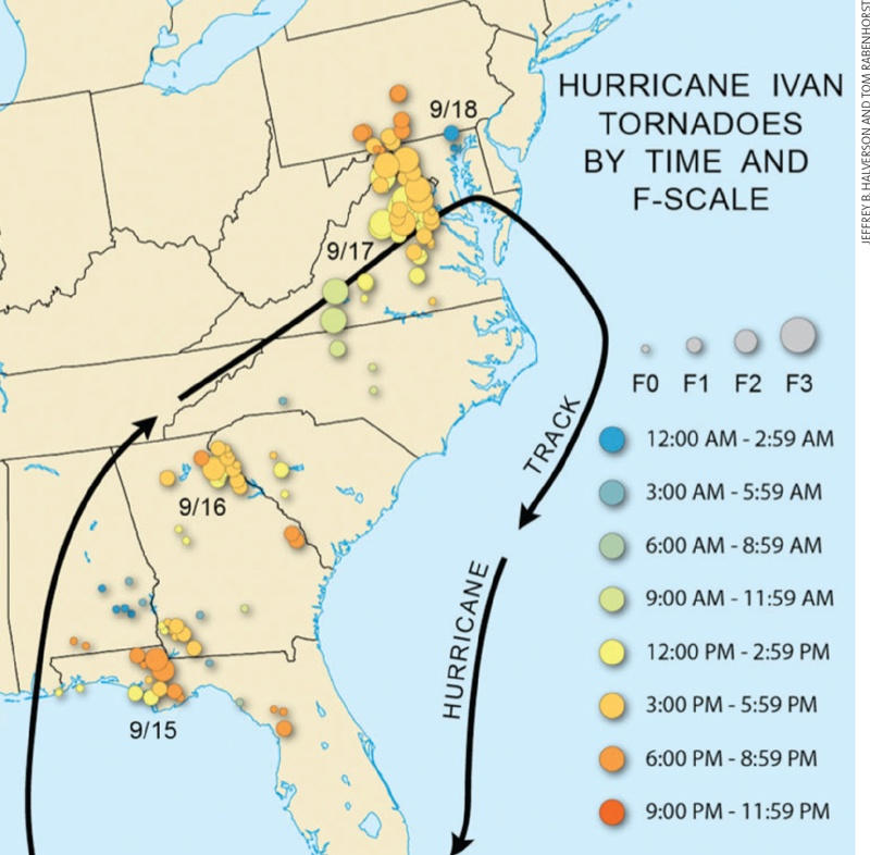 Hurricane Ivan Tornadoes (Courtesy: WeatherWise Magazine)