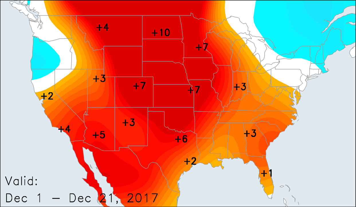 Temperature Anomalies for December 1-21, 2017
