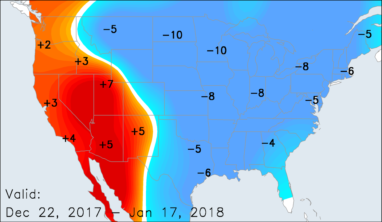 Temperature Anomalies for December 22, 2017 - January 17, 2018